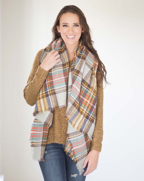 My Favorite Blanket Scarf-Beige/Brown