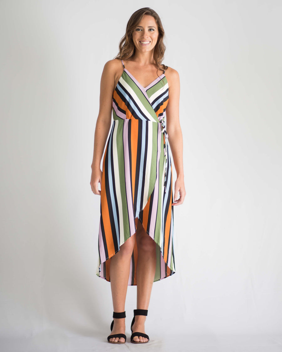 Lou Striped Wrap Dress