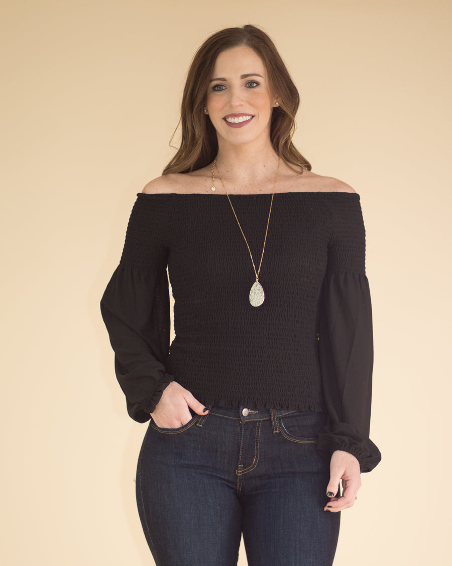Alexa Cropped Puff Sleeve Top
