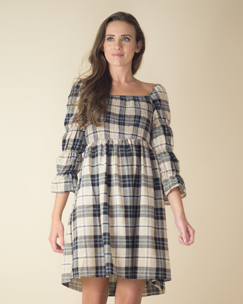Susan Ruched Plaid Dress