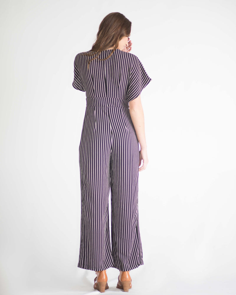 Sylvia Striped Tie Front Jumpsuit