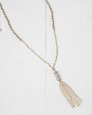 Frost Beaded Tassel Necklace | Rose & Remington