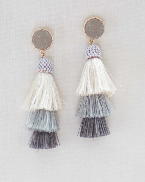 Tri Layer Tassel Earrings