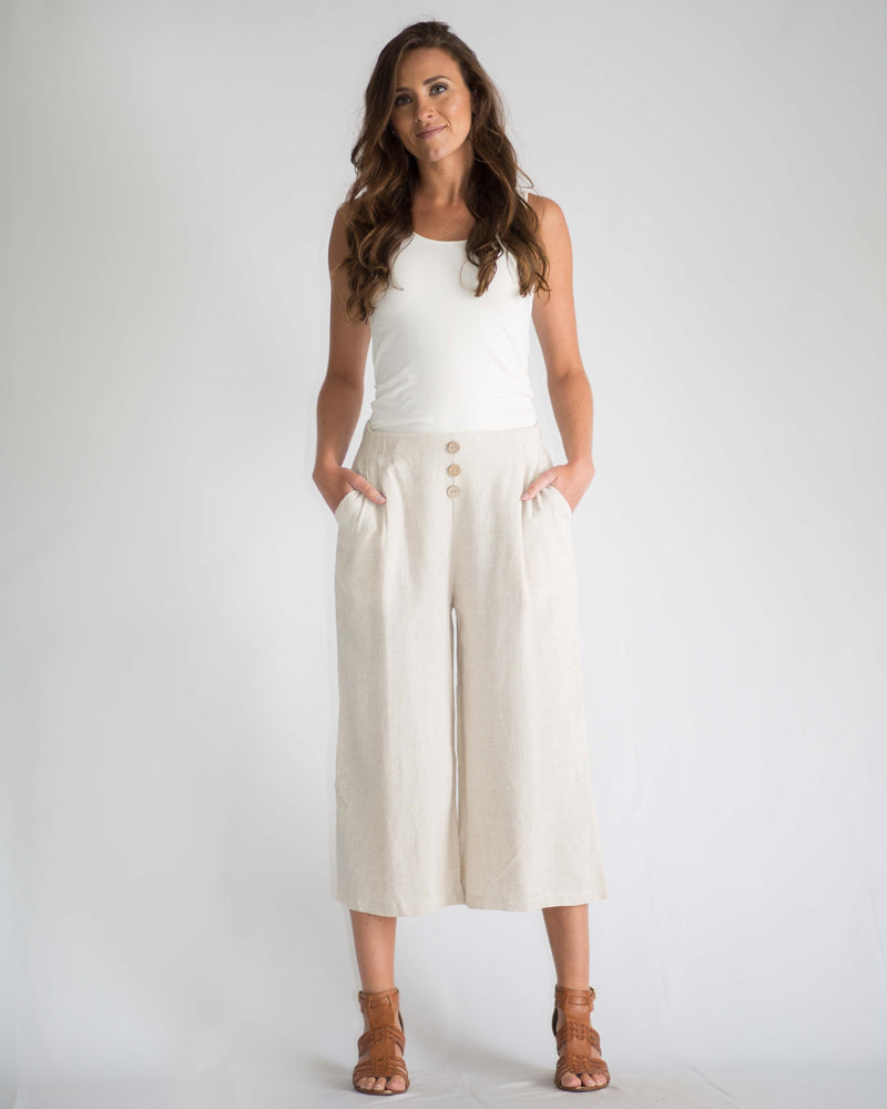Sandy Button Front Cropped Pants