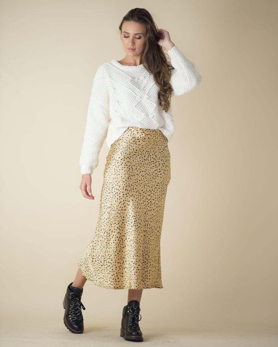 Cheetah Satin Midi Skirt