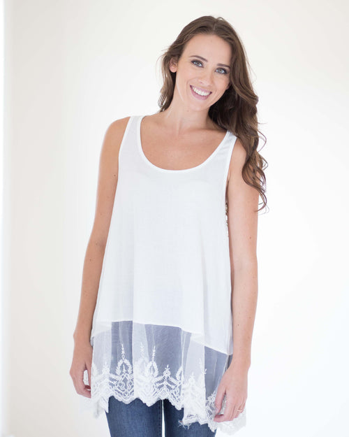 9db65d134d1c73 Lucy Layering Lace Tank · Lucy Layering Lace Tank.  32.99. S · Ella  Embroidered Sleeveless Top