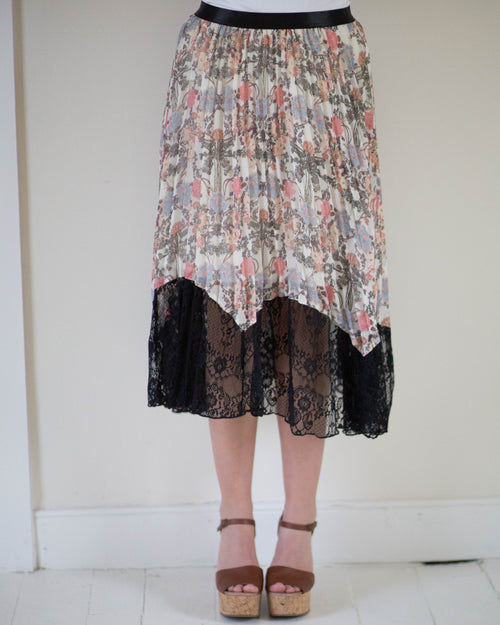 Pleated Floral Midi Skirt | Rose & Remington