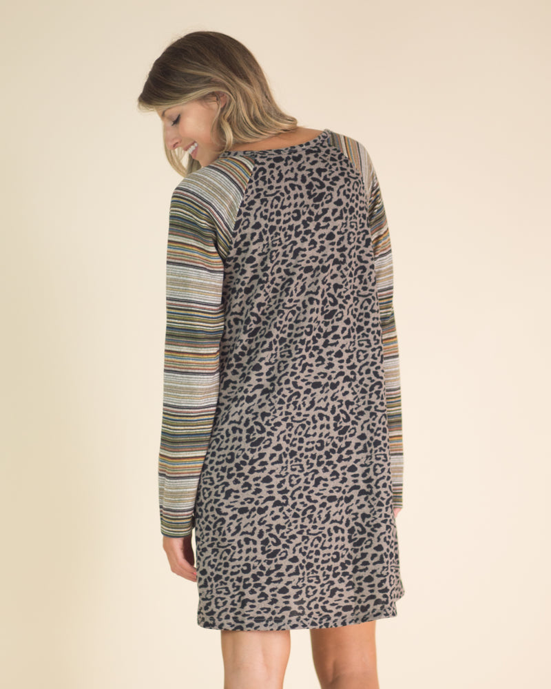 Leopard Striped Pocketed Dress