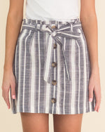 Sara Striped Button Front Skirt