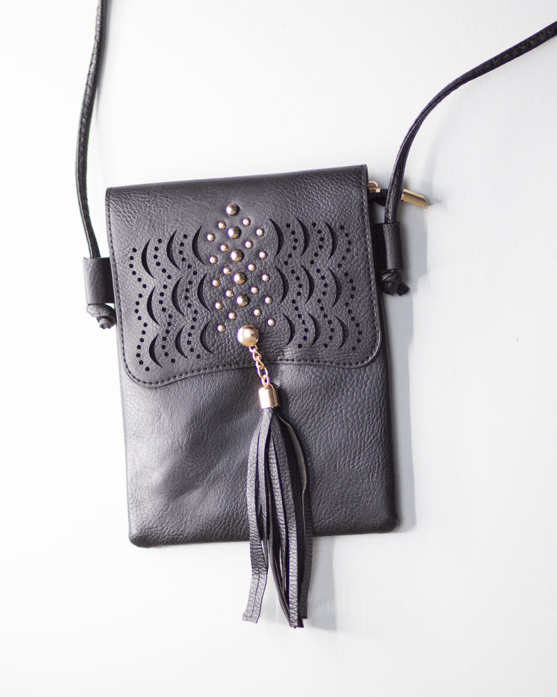 Leather Tassel Crossbody-Black