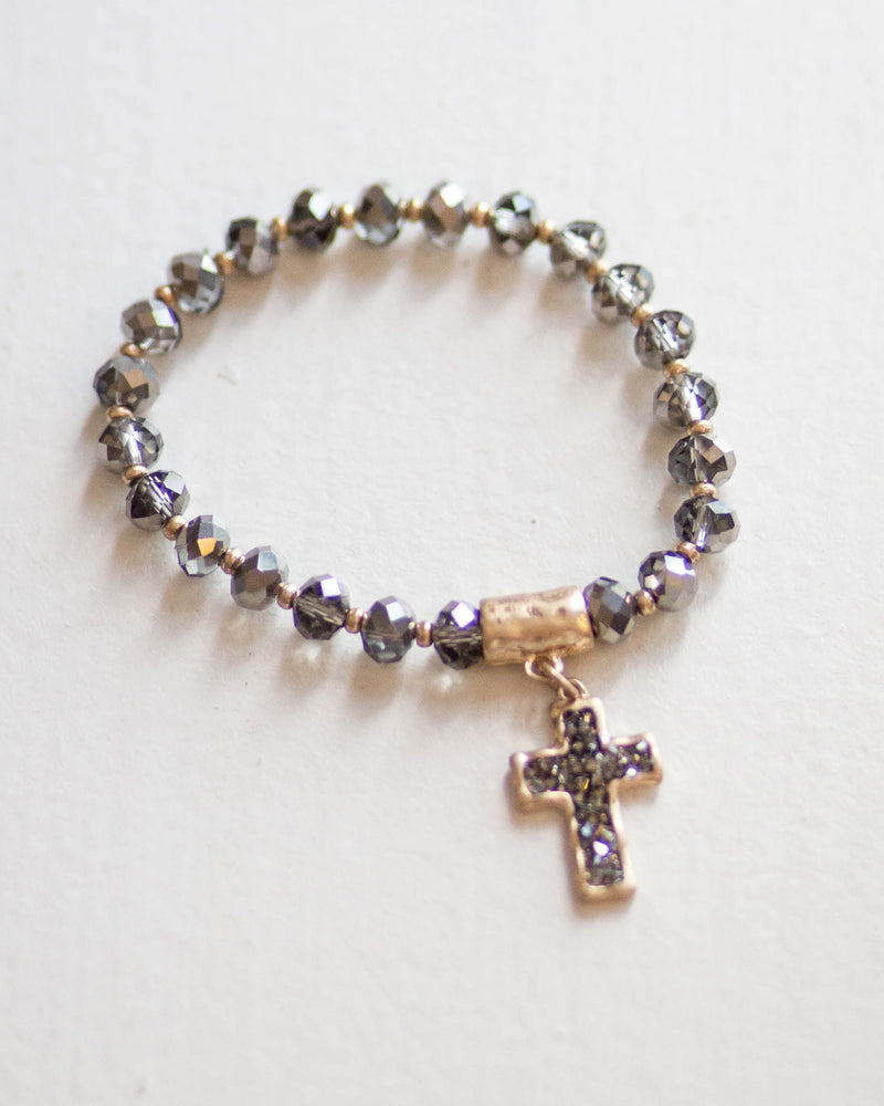 Beaded Cross Charm Bracelet | Rose & Remington