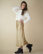 Leopard Satin Midi Skirt