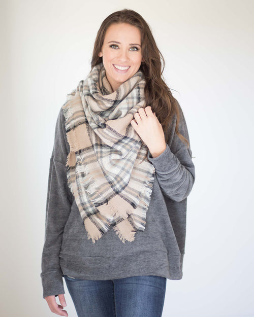 My Favorite Blanket Scarf-Beige/Black