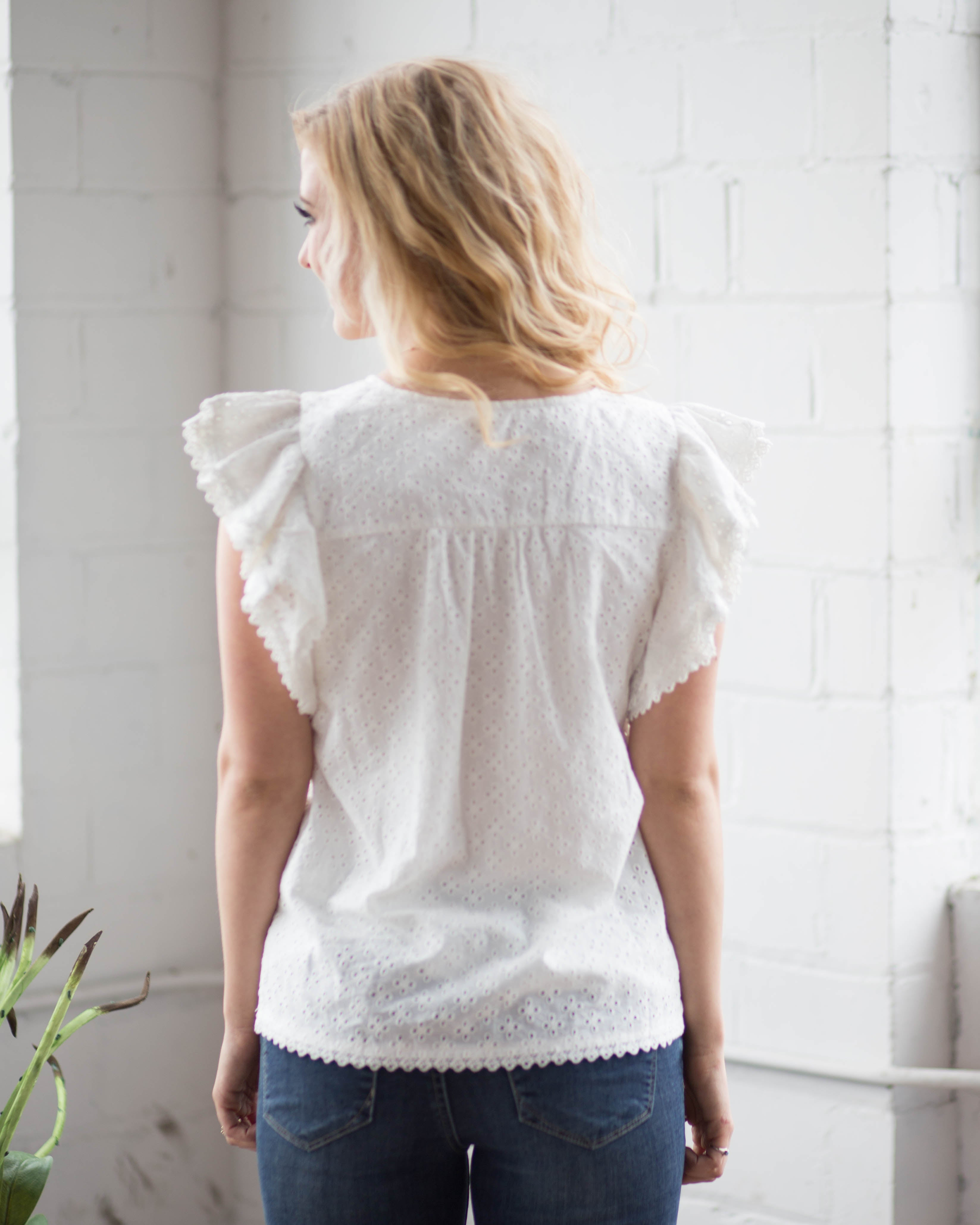 White Lace Flutter Sleeve Top | Rose & Remington
