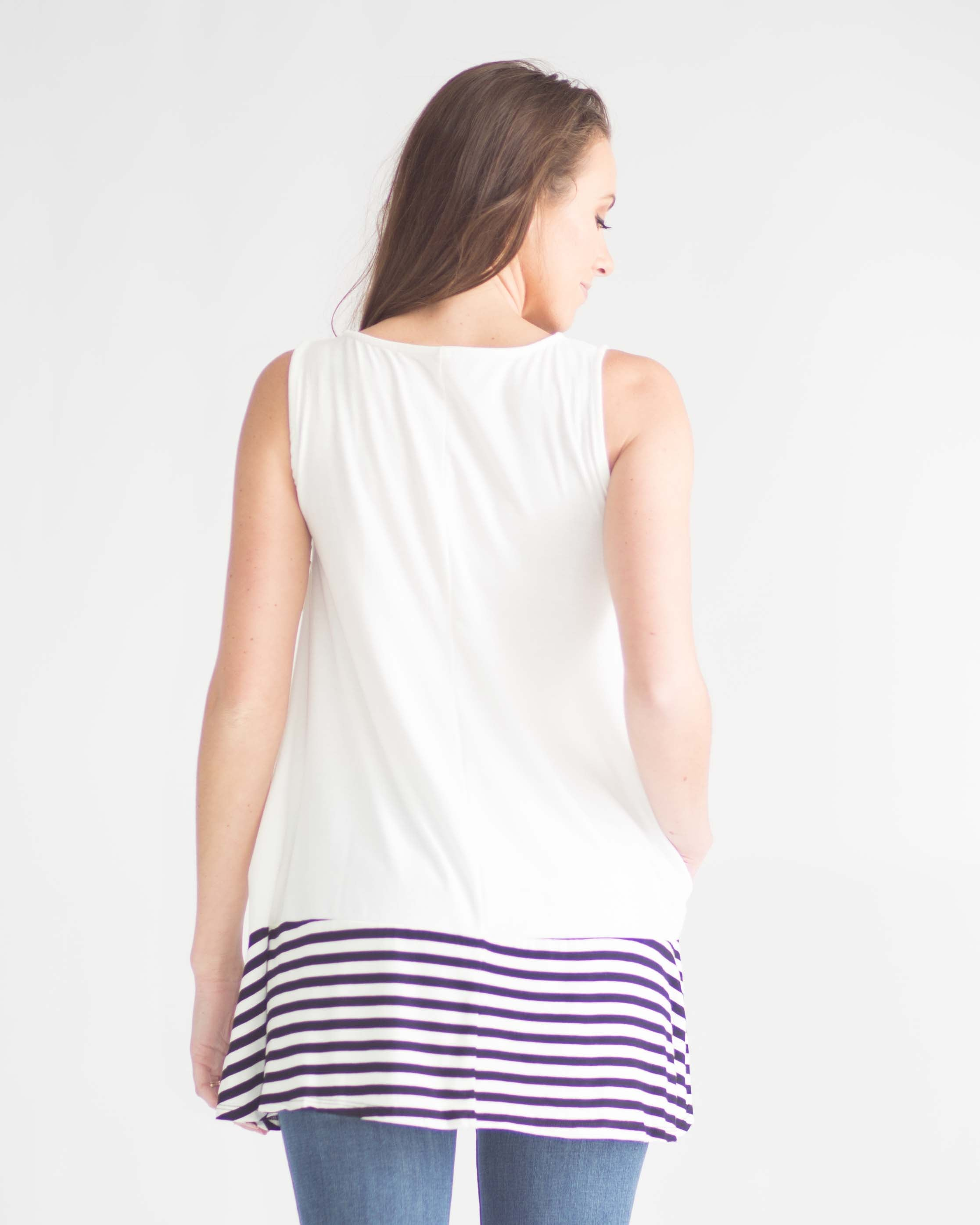Striped Contrast Sleeveless Top