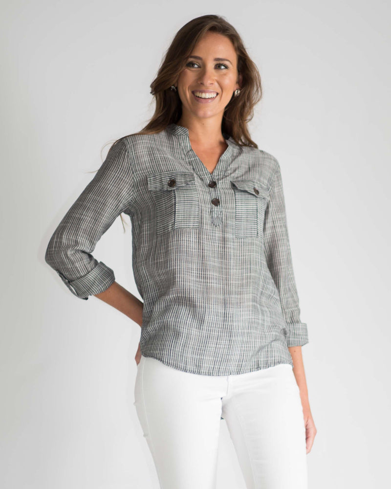 Alexis Woven Pocketed Top
