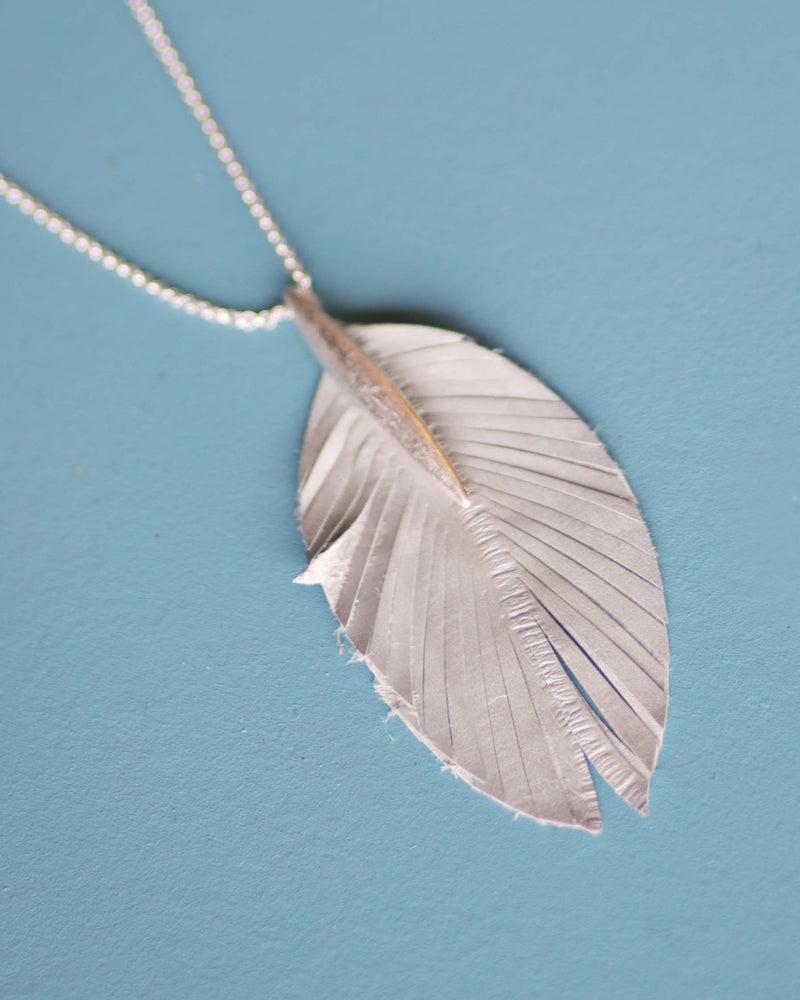 Leather Feather Pendant Necklace