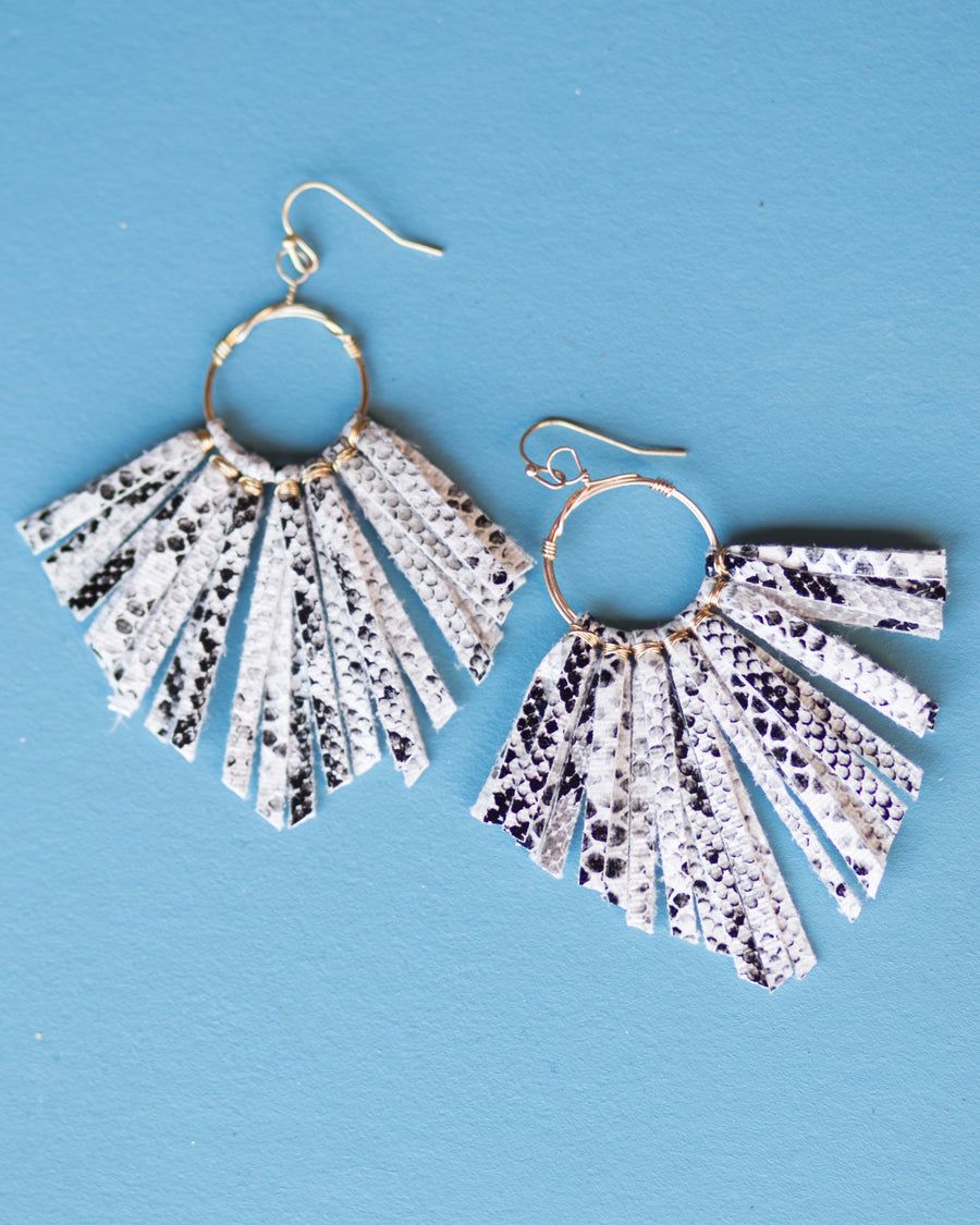 Snake Fringe Tassel Earrings- White