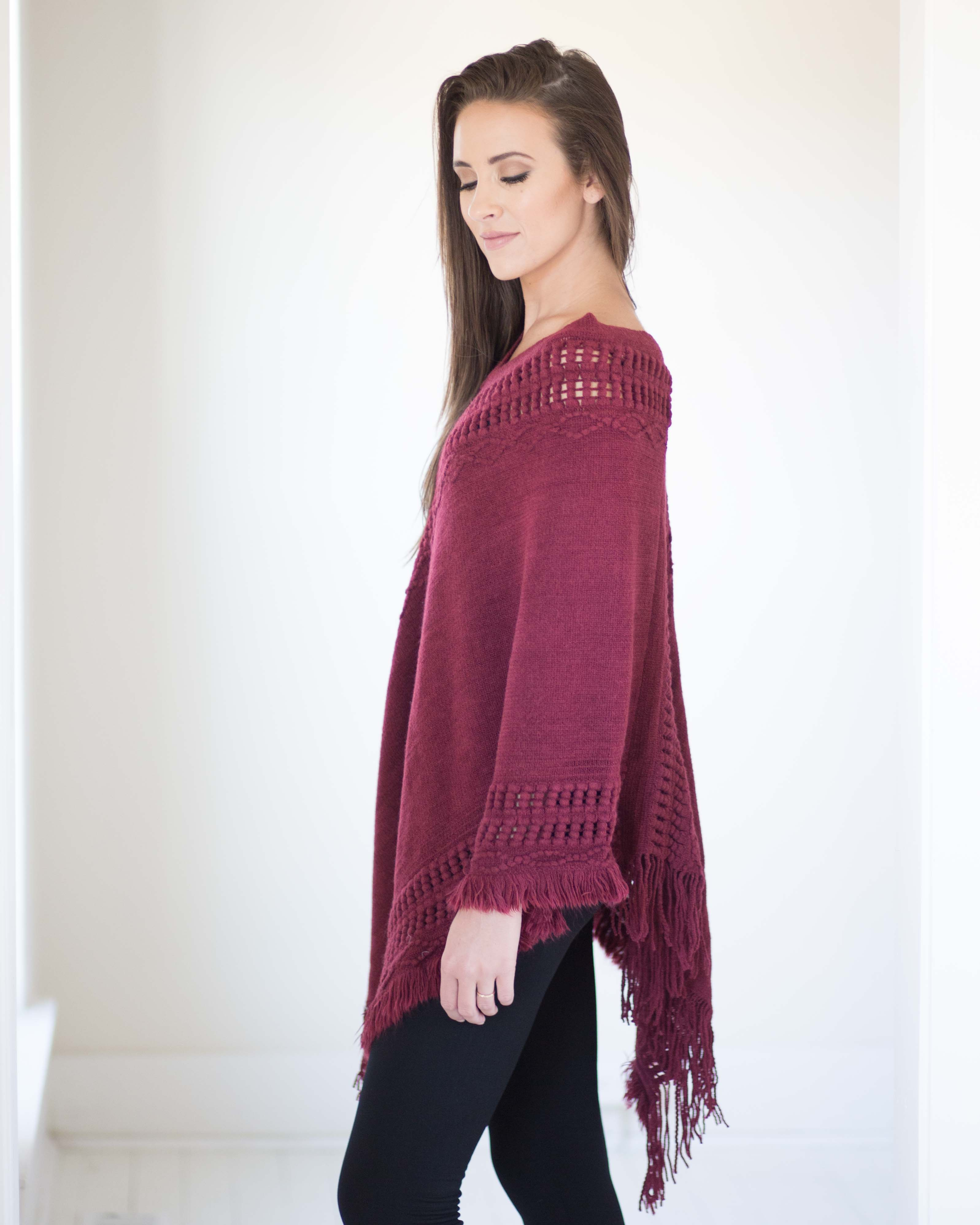 Asymmetric Soft Knit Poncho-Burgundy