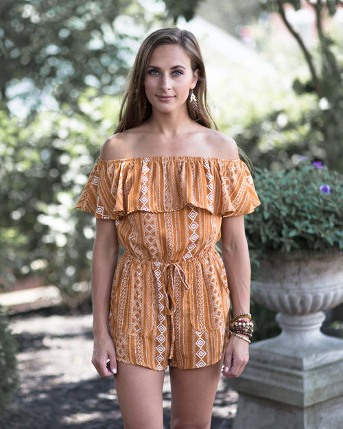 Ella Off The Shoulder Romper | Rose & Remington