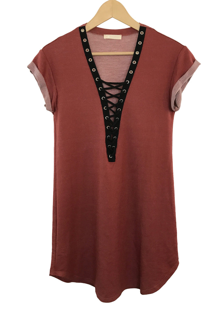 wren lace-up tee-dress