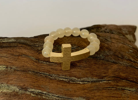 Cross beaded ring