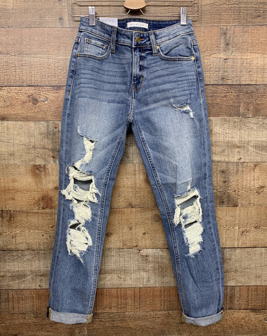 eunina distressed light wash mom jeans