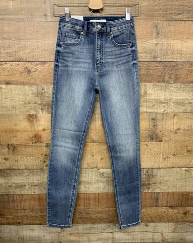 high waisted medium washed skinny jeans