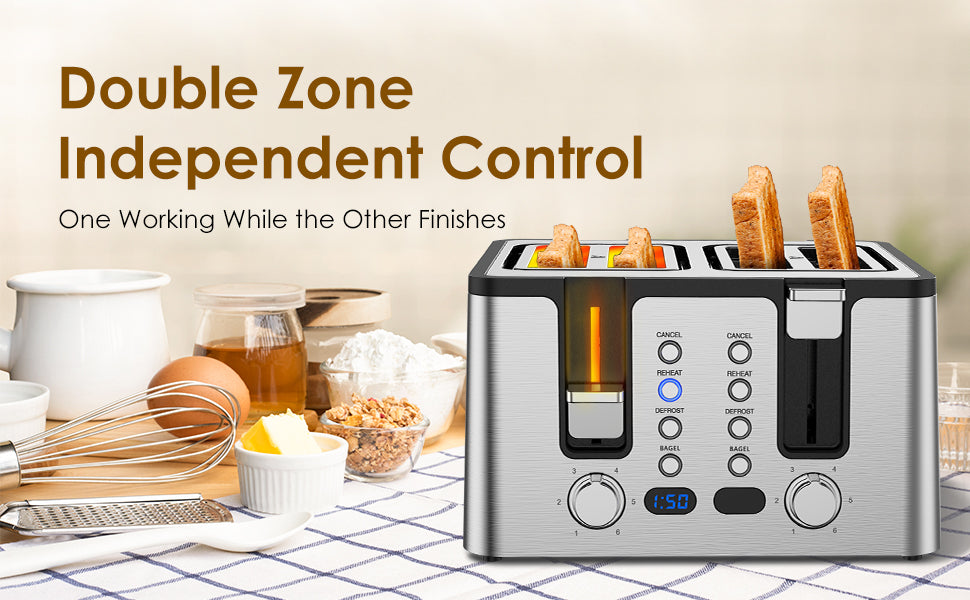 Double Zone Independent Control Toaster