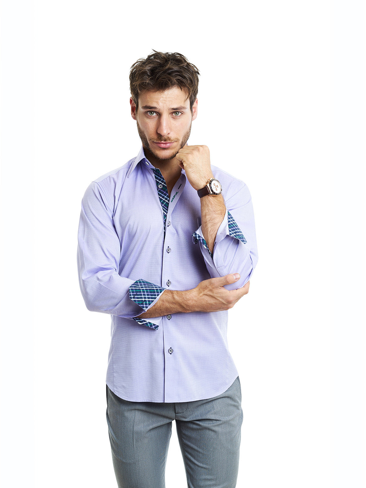Maceoo Brax Purple Shirt - Slim
