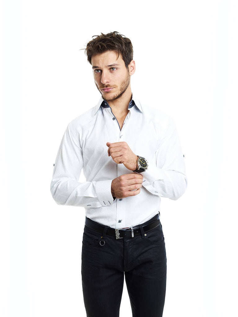 Maceoo Flavour White Trefle Shirt - Slim
