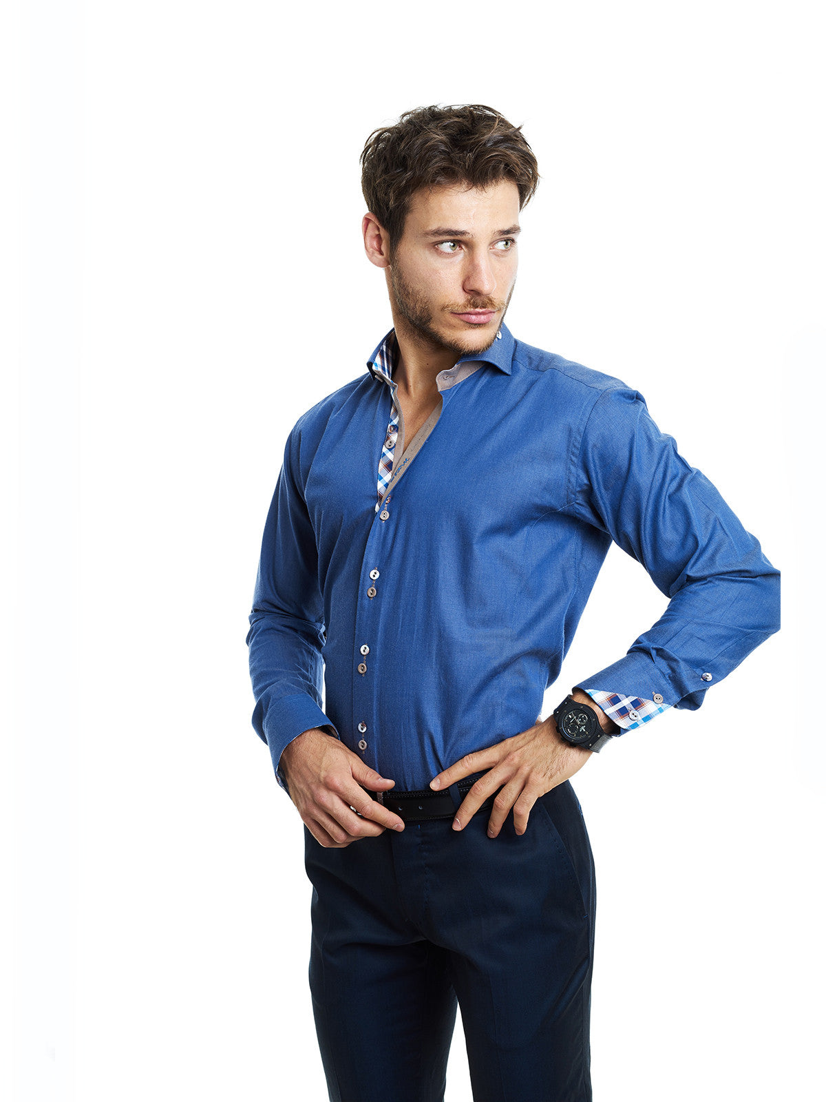 Maceoo Mini Panam Blue Shirt - Slim  - 4