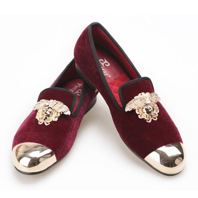 Metal Toe Velvet Red Luxury Loafer - Slim