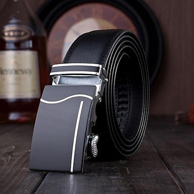 Sliver Alloy Black Leather Belt - Slim