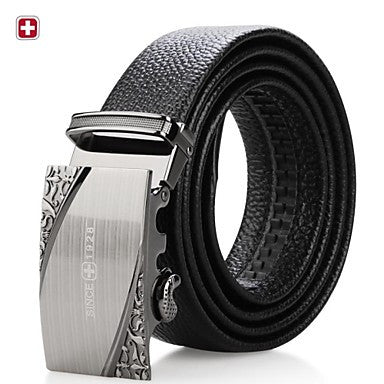 Vintage Sliver Alloy Black Leather Belt - Slim