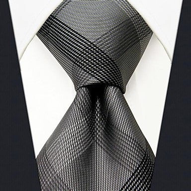 Business Check Pattern Silk Tie in Grey - Slim  - 2