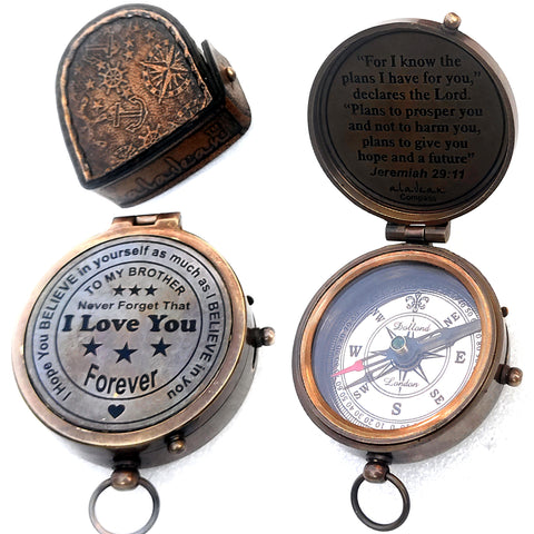 Gift for brother brass compass
