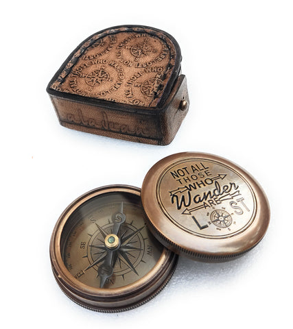 Not All Those who wander engraved brass compass manufacturer