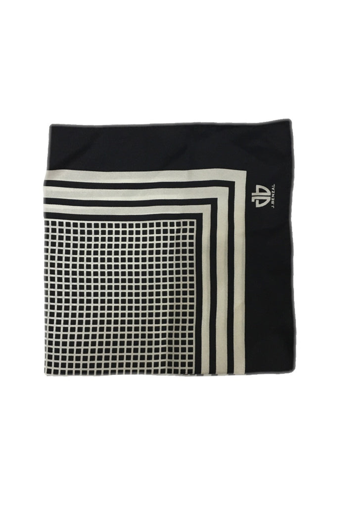 Black w/ White Pocket Square