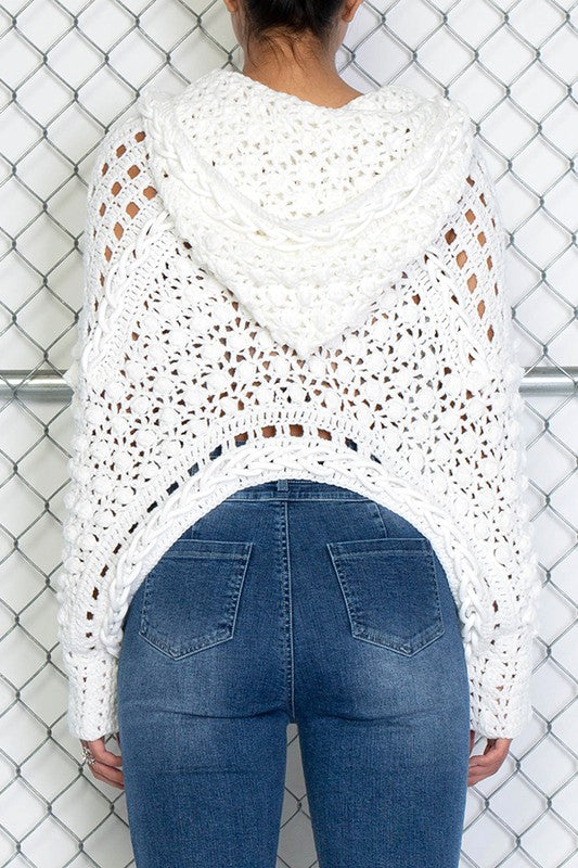 Open Knit Hooded Sweater