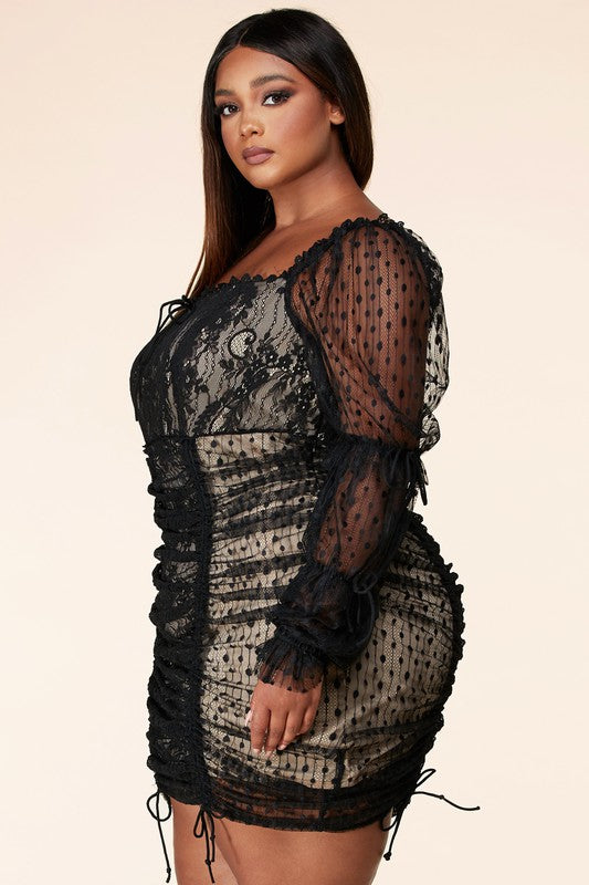 Lace Ruched Mini Dress