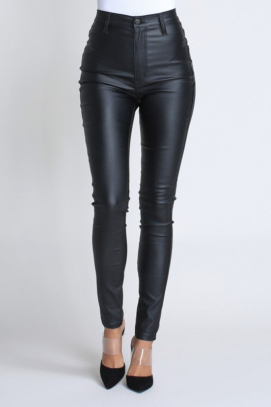 High Rise Faux Leather Skinnies