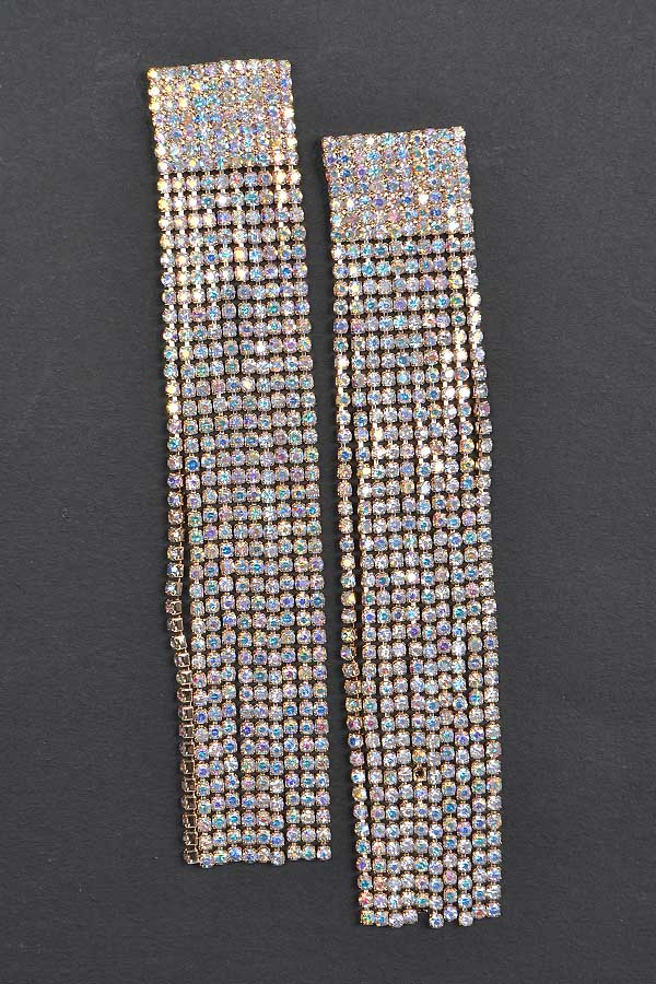 Rhinestone Curtain Drop Earring