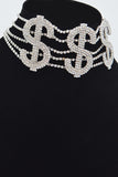Dollar Sign Rhinestone Choker