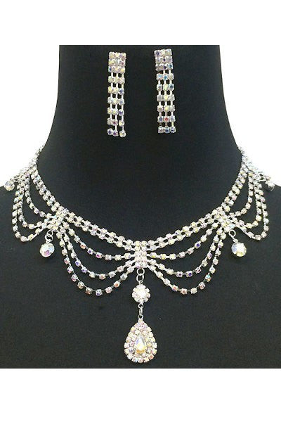 Rhinestone Tassel Necklace Set