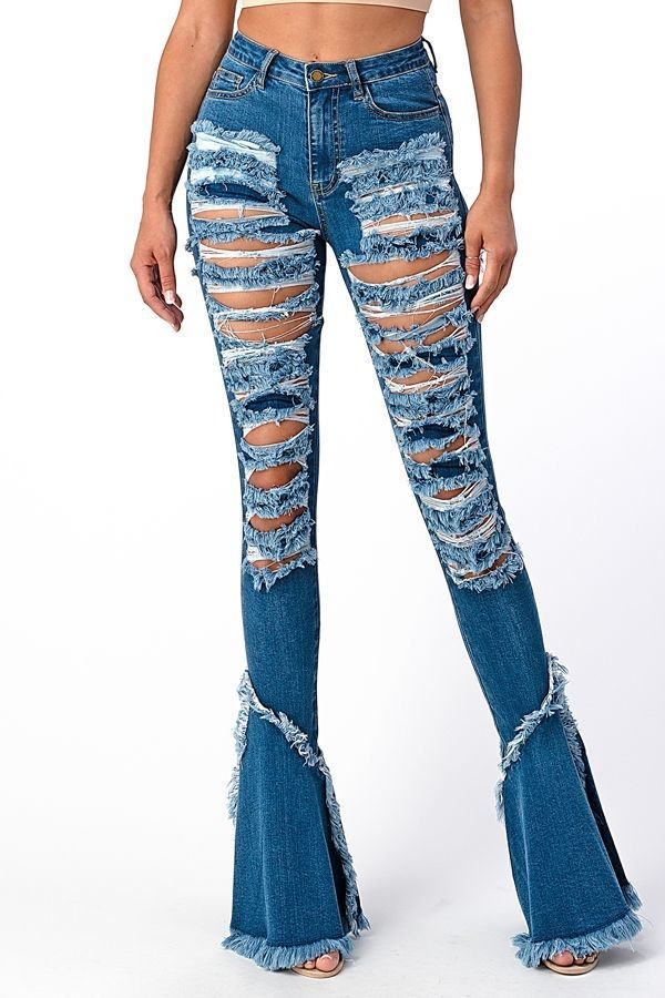 Cone Destroyed Flare Jeans