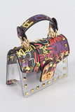 Clear Graffiti Stud Mini Bag