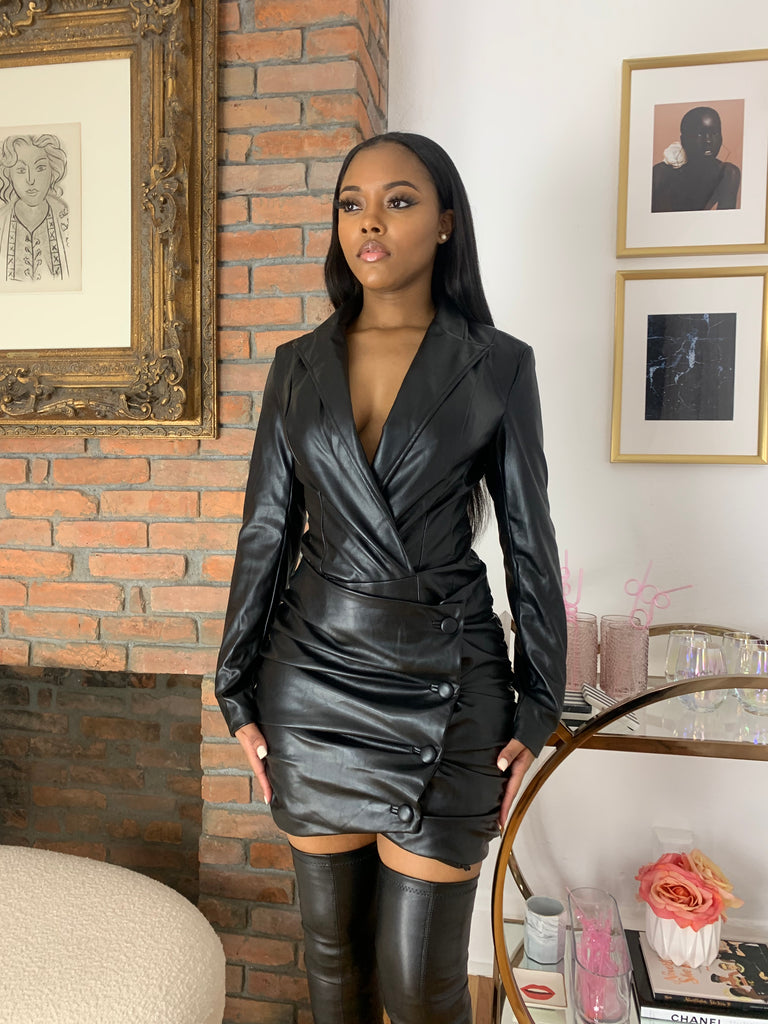 Vegan Leather Skirt Set- Black