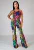 Colorblock Snake Jumpsuit