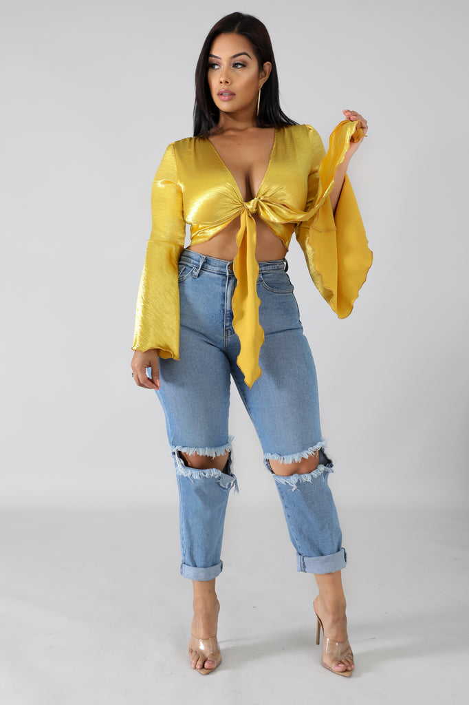 Satin Bell Crop Top